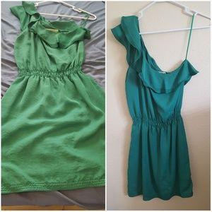 Max Studio One Shoulder Green Dress
